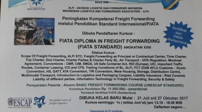 ALFI gelar kursus FIATA Diploma mulai 21 Juli