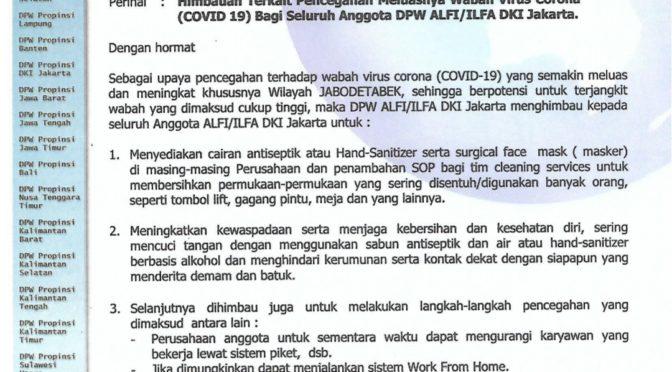 ALFI DKI Himbau Anggotanya Cegah Meluasnya Virus Corona